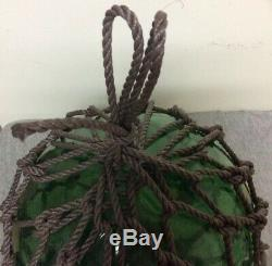 Vintage Large Japanese Blown Green Glass Fishing Buoy with Net 39