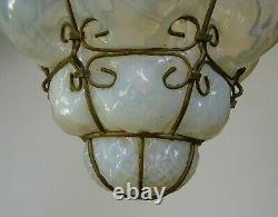 Vintage Murano Hand Blown Caged Opalescent Glass Lantern Hanging Ceiling Light