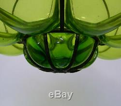Vintage Murano Hand Blown Green Caged Glass Lantern Hanging Ceiling Light