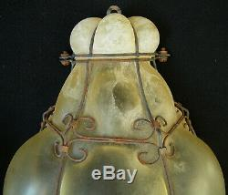Vintage Murano Hand Blown Scavo Caged Glass Pair Wall Sconces Light
