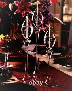 Vintage Nib Firelight Glass Waterlily Trio Hand Blown Oil Candles Lamps
