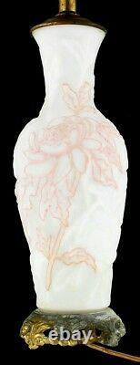 Vintage Rare Phoenix /Consolidated Blown Out Relief Cream Glass Lamp Pr Works