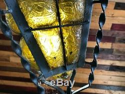 Vintage Spanish Mission Porch Light Hand Blown Amber Glass / Gothic wrought iron