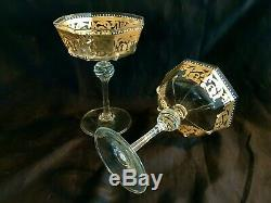 Vintage Venice Murano 2 Hand Blown Champagne Goblets Gold Decoration