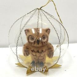 Vintage West German Blown Glass Christmas ornament Diorama Owl with Wire Wrap