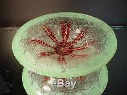 WMF Ikora Karl Weidmann Hand Blown Footed Flower Motif Bowl Germany Art Deco