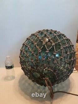 XXL 15 inch antique japanese glass fishing float hand blown D4