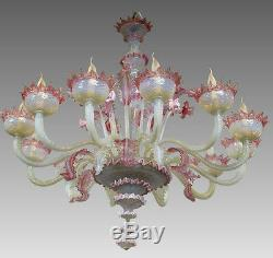 XXL Majestical 12 ARMS murano Venetian pink glass hand blown Chandelier 1960's